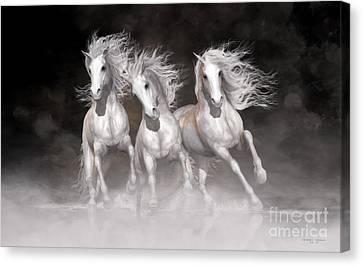 Trinity Horses Neutrals Canvas Print by Shanina Conway