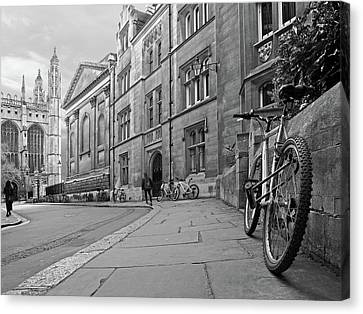 Great Cities Universities Canvas Print - Trinity Lane Clare College Great Hall In Black And White by Gill Billington