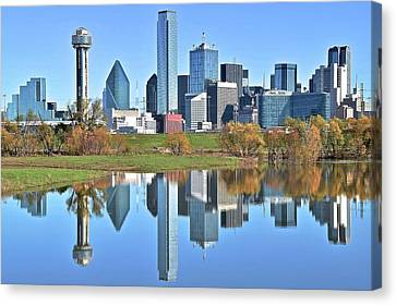 Metropolitan Canvas Print - Trinity Park Water Reflects The Big D by Frozen in Time Fine Art Photography