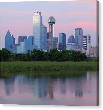 Trinity River With Skyline, Dallas Canvas Print by Michael Fitzgerald Fine Art Photography of Texas