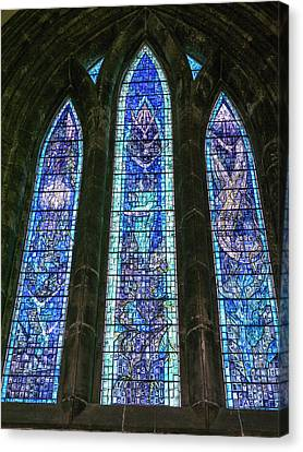 Canvas Print - Trio Of Blue Stained Glass by Jean Noren