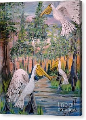 Trio Of Pelicans Canvas Print by Seaux-N-Seau Soileau