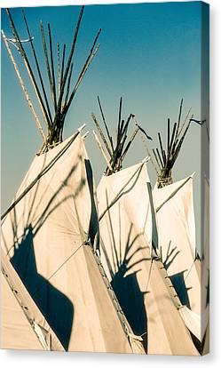 Trio Of Tipis Canvas Print by Todd Klassy