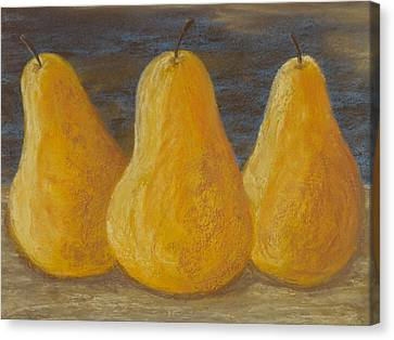 Trio Of Yellow Pears Canvas Print by Cheryl Albert