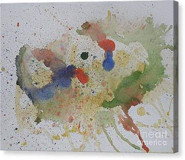 Canvas Print featuring the painting Triple Rooster Race by Vicki  Housel