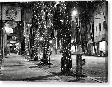 Tripping The Light In Downtown Brevard North Carolina In Charcoal  Canvas Print by Carol R Montoya