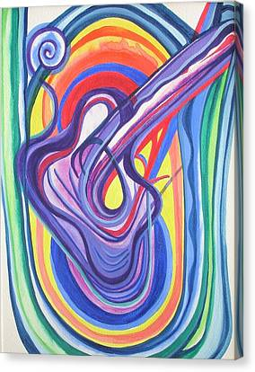 Canvas Print featuring the painting Trippy Guitar by Erika Swartzkopf