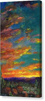 Sunset Abstract Canvas Print - Triptych 1 Desert Sunset by Frances Marino