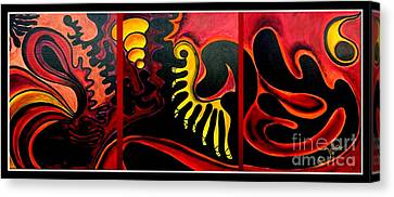 Canvas Print featuring the painting Triptych Abstract Vision by Jolanta Anna Karolska