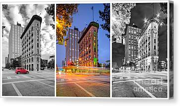 Triptych Of The Flatiron Building In Downtown Fort Worth - Texas  Canvas Print by Silvio Ligutti