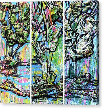 Drips Canvas Print - Triptych Of Three Trees By A Brook by Genevieve Esson