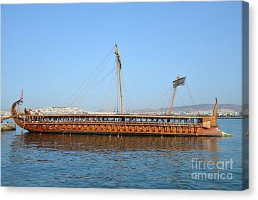 Mooring Canvas Print - Trireme Olympias Moored By The Stern by George Atsametakis