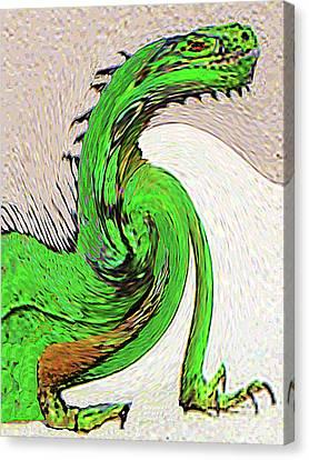 Canvas Print featuring the digital art Triumphant Iguana by Merton Allen