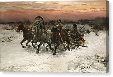 Troika Pursued By Wolves Canvas Print by Alfred Kowalski