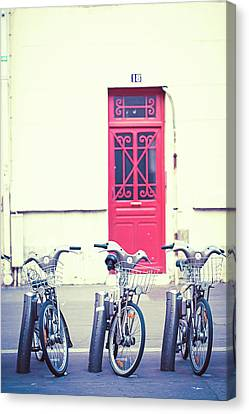 Canvas Print featuring the photograph Trois - Three Bicycles In Paris by Melanie Alexandra Price