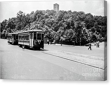 Canvas Print featuring the photograph Trolley With Cloisters by Cole Thompson