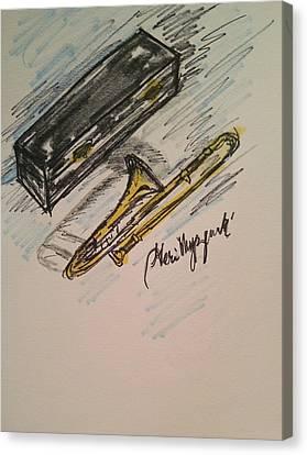 Trombone Canvas Print by Geraldine Myszenski