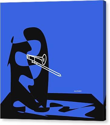 Trombone In Blue Canvas Print by David Bridburg