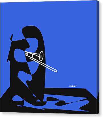 Trombone In Blue Canvas Print by David Bridburg