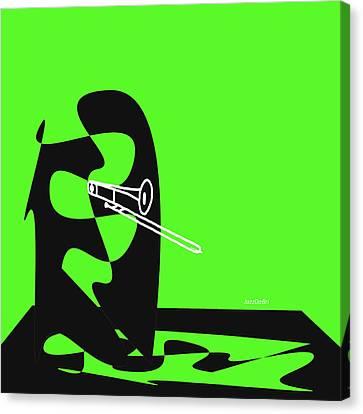 Trombone In Green Canvas Print by David Bridburg