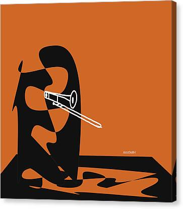 Trombone In Orange Canvas Print by David Bridburg