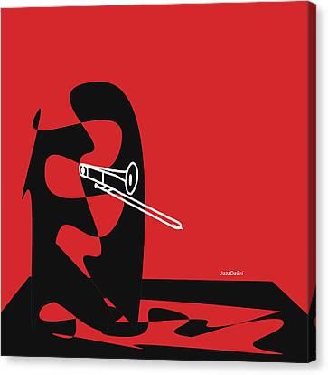 Trombone In Red Canvas Print by David Bridburg