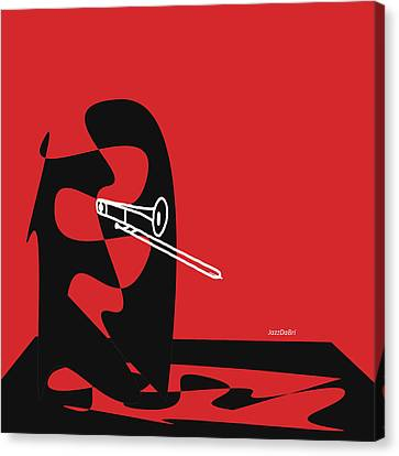 Trombone In Red Canvas Print by David Bridburg