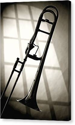 Stretched Canvas Print - Trombone Silhouette And Window by M K  Miller