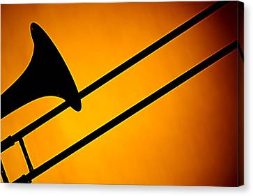 Trombone Silhouette On Gold Canvas Print by M K  Miller
