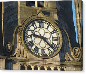 Tron Kirk Clock Canvas Print by Margaret Brooks