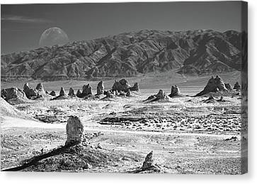 Trona Pinnacles With The Moon Canvas Print by Marius Sipa