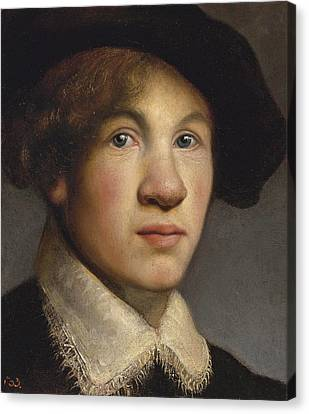 Tronie Of A Young Man Possibly A Portrait Of The Young Rembrandt Canvas Print by Isaac de Jouderville