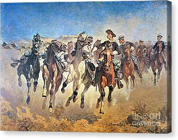 Pioneers Canvas Print - Troopers Moving by Frederic Remington