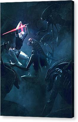 Troopers Vs Space Cockroaches 3 Canvas Print by Guillem H Pongiluppi