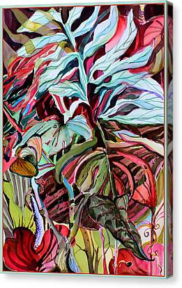 Tropcial Red Canvas Print by Mindy Newman