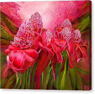 Canvas Print featuring the mixed media Tropic Garden - Torch Ginger by Carol Cavalaris