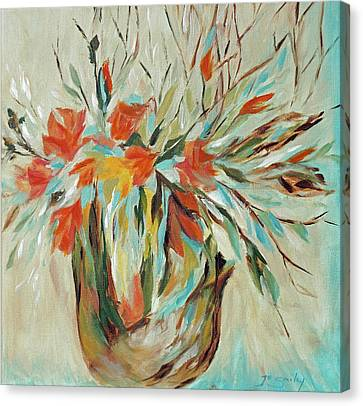 Canvas Print featuring the painting Tropical Arrangement by Joanne Smoley