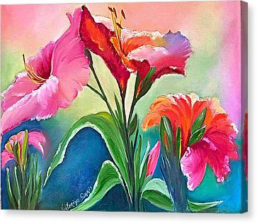 Pallet Knife Canvas Print - Tropical Attraction by Viktoriya Sirris