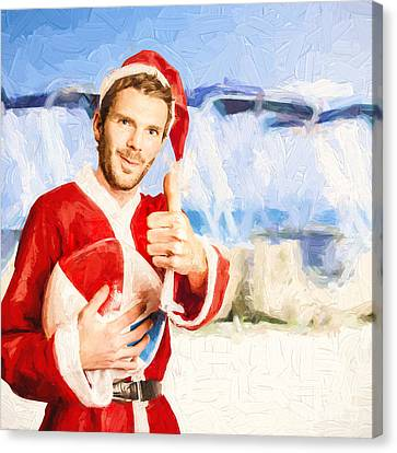 Santa Claus Canvas Print - Tropical Beach Santa Photo Illustration by Jorgo Photography - Wall Art Gallery