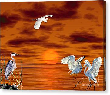 Canvas Print featuring the digital art Tropical Birds And Sunset by Terri Mills