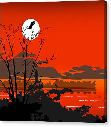 Tropical Birds Orange Sunset Abstract - Square Format Canvas Print