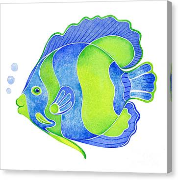 Tropical Blue Angel Fish Canvas Print by Laura Nikiel