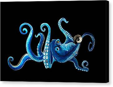 Tropical Blue Octopus Canvas Print by Jennifer Rogers
