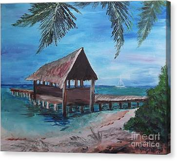 Tropical Boathouse Canvas Print by Judy Via-Wolff