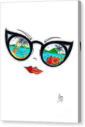 Tropical Cat Eyes Sunglass Reflection Aroon Melane 2015 Collection By Madart Canvas Print by Megan Duncanson