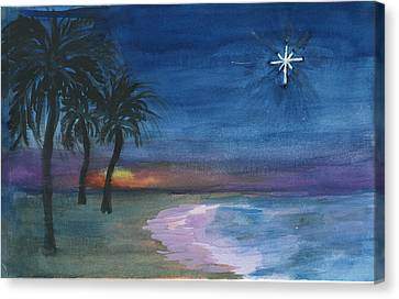 Canvas Print featuring the painting Tropical Christmas by Donna Walsh
