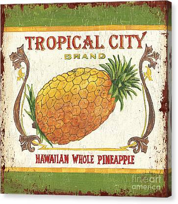 Tropical City Pineapple Canvas Print by Debbie DeWitt