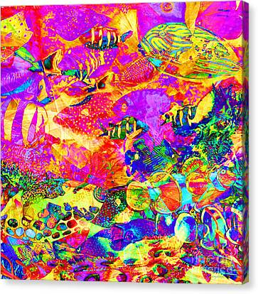 Tropical Coral Reef Fish In Abstract 20160923 Square Canvas Print