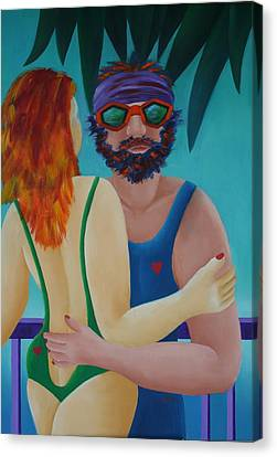 Canvas Print featuring the painting Tropical Dance by Karin Eisermann
