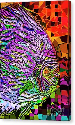 Canvas Print featuring the photograph Tropical Fish Discus In Abstract 20170325v3 by Wingsdomain Art and Photography